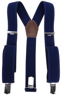 breiter Hosenträger marine dunkelblau Uni mit Clip - verstellbar 75 bis 120 cm