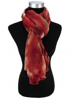 Damen Schal Halstuch rot beige schwarz mit Fransen Gr. 185 cm x 75 cm - Tuch