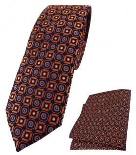 schmale TigerTie Krawatte + Einstecktuch orange blau silber schwarz gemustert