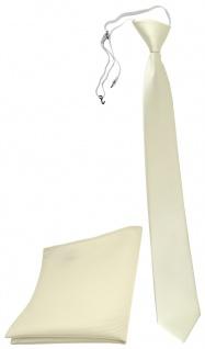 TigerTie Sicherheits Krawatte + Einstecktuch beige elfenbein einfarbig Uni Rips