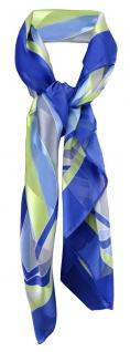 Satin Halstuch in blau silber grün weiß gestreift - 100% Seide - Gr. 90 x 90 cm