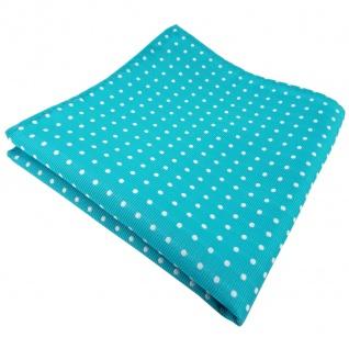TigerTie Einstecktuch türkis türkisblau silber gepunktet - Tuch 100% Polyester