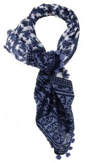 TigerTie Designer Halstuch in blau dunkelblau weissgrau gemustert