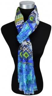 Schal in blau türkis grün gelb grau dunkelblau braun gemustert - Gr.180 x 70 cm