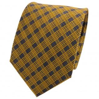 TigerTie Seidenkrawatte gold gelb anthrazit grau kariert - Krawatte Seide