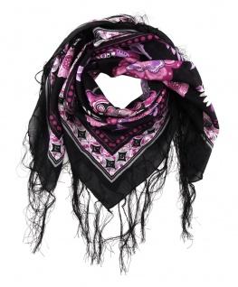 Halstuch in lila pink grau schwarz rosa geblümt mit langen Fransen - 90 x 90 cm