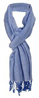 TigerTie Designer Schal in blau silber gemustert - Gr. 180 x 50 cm