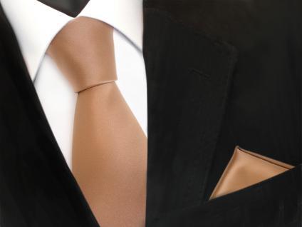 schöne TigerTie Krawatte + Einstecktuch in gold uni - Binder Tie Polyester