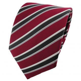 Seidenkrawatte rot dunkelrot anthrazit silber grau gestreift - Krawatte Seide