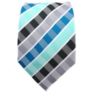 TigerTie Krawatte türkis mint wasserblau grau anthrazit weiß gestreift - Binder - Vorschau 2