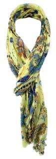 gecrashter TigerTie Schal gelb blau orange türkis gemustert mit kleinen Fransen