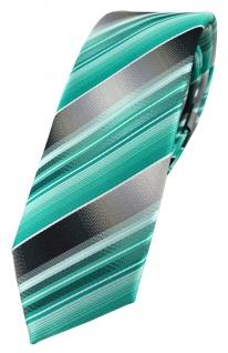 schmale TigerTie Designer Krawatte in mint grün silber anthrazit grau gestreift