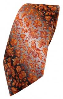 TigerTie Designer Krawatte in orange anthrazit grausilber geblümt gemustert