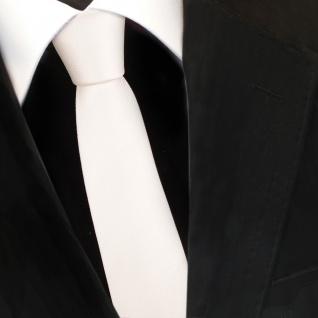 Schmale TigerTie Designer Krawatte weiß perlweiß creme cremeweiß Uni Rips - Tie - Vorschau 3