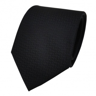 TigerTie Designer Krawatte schwarz Uni fein gepunktet - Schlips Binder Tie
