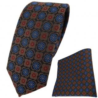 schmale TigerTie Krawatte + Einstecktuch braun rot schwarz blau gemustert