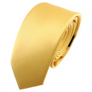 schmale TigerTie Satin Krawatte gelb goldgelb Uni - Schlips Binder Tie