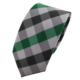 schmale TigerTie Krawatte grün smaragdgrün silber grau anthrazit kariert - Tie