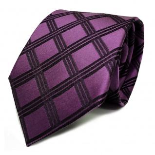 Designer Seidenkrawatte lila violett schwarz kariert - Krawatte Seide Silk