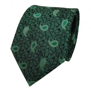 TigerTie Seidenkrawatte grün dunkelgrün schwarz paisley - Krawatte Seide Tie