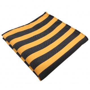 schönes TigerTie Einstecktuch gelb goldgelb anthrazit gestreift - Tuch Polyester