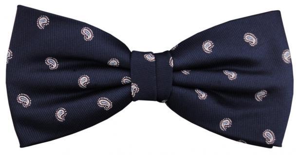Designer Seidenfliege blau royal silber gepunktet - Fliege Seide Silk