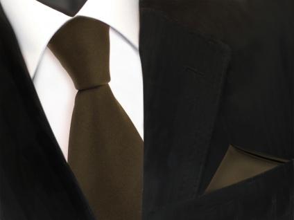 schöne TigerTie Krawatte + Einstecktuch in oliv grün dunkelgrün uni - Binder
