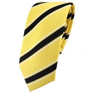 Schmale TigerTie Designer Krawatte gelb schwarz weiß gestreift - Binder Tie