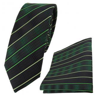 schmale TigerTie Seidenkrawatte + Einstecktuch grün moosgrün schwarz gestreift
