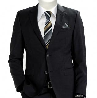 schmale TigerTie Krawatte + Einstecktuch in gold grau weiss schwarz gestreift - Vorschau 2