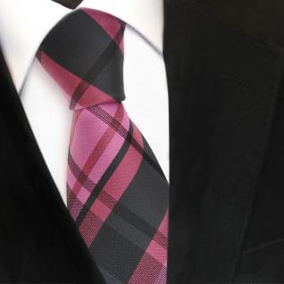 TigerTie Designer Seidenkrawatte rosa altrosa rosé anthrazit kariert - Krawatte