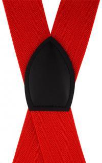 breiter TigerTie Herren Hosenträger mit 4 Clips in X-Form - Farbe rot - Vorschau 3