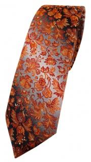schmale TigerTie Designer Krawatte in orange grausilber geblümt gemustert