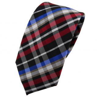 Schmale TigerTie Krawatte rot blau beige schwarz silber kariert - Binder Tie