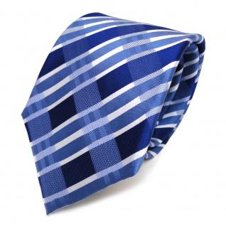 Designer Seidenkrawatte blau signalblau silber gestreift - Krawatte Seide Tie