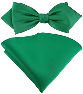vorgebundene TigerTie Spitzfliege + Einstecktuch in grün Uni einfarbig + Box