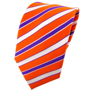 TigerTie Krawatte orange verkehrsorange lila weiß gestreift - Binder Tie