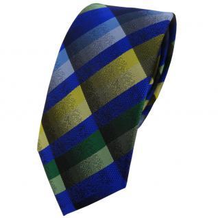 Schmale TigerTie Designer Krawatte blau grün grau gelb kariert - Binder Tie