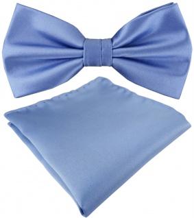 TigerTie Satin Fliege + Einstecktuch in blau Uni einfarbig + Geschenkbox