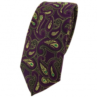 schmale TigerTie Designer Krawatte in lila gold grün schwarz Paisley gemustert