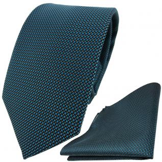 TigerTie Designer Krawatte + Einstecktuch grün türkis schwarz silber gepunktet
