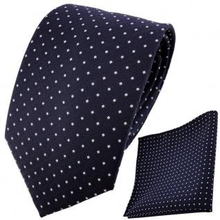schöne TigerTie Krawatte + Einstecktuch marine dunkelblau silberweiss gepunktet