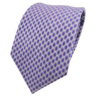 Designer Seidenkrawatte lila flieder grau blau gepunktet - Krawatte Seide Silk
