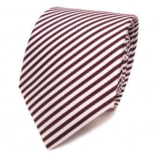 Designer Krawatte rot bordeaux weiss gestreift - Krawatte Tie Binder - Vorschau 2