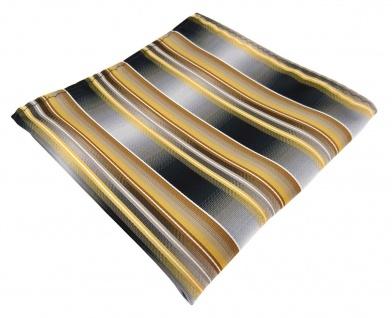 TigerTie Designer Seideneinstecktuch in gold gelb grau silber weiß gestreift