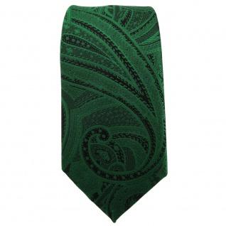 schmale TigerTie Krawatte grün smaragdgrün schwarz Paisley - Krawatte Tie - Vorschau 2