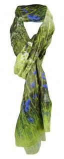 TigerTie weicher Schal in grün braun grau blau - Motiv Blumenwiese - 180 x 70 cm