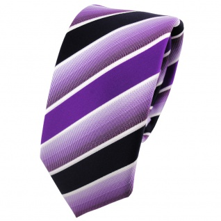 Schmale TigerTie Krawatte lila violett dunkelblau weiß gestreift - Binder Tie