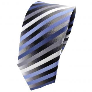 Schmale TigerTie Seidenkrawatte blau anthrazit silber gestreift - Krawatte Seide