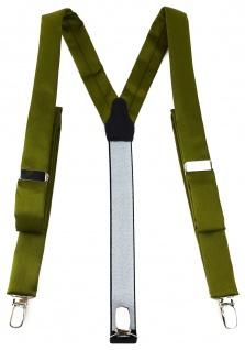 schmaler TigerTie Unisex Hosenträger mit 3 extra starken Clips - in farngrün Uni